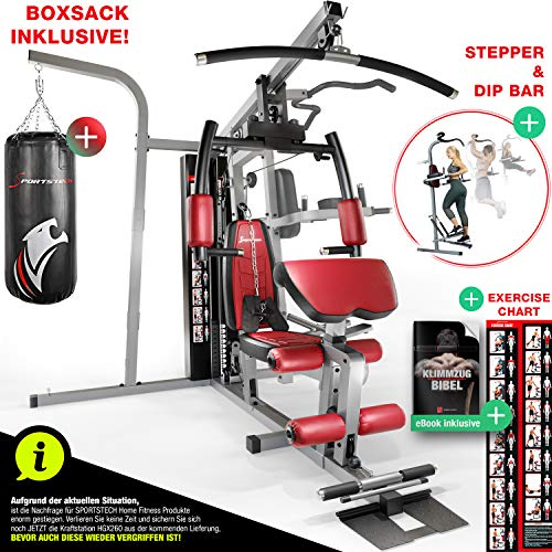 Sportstech Premium 50in1 Kraftstation für EIN Allround Training | Multifunktions-Heimtrainer mit Stepper & LAT-Zugturm | HGX Fitness-Station aus Eva Material | robust für Zuhause & Boxer