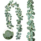 Zhou-long 2 hojas artificiales de eucalipto de seda sintética, hojas falsas hechas a mano con guirnaldas de fondo para decoración de mesa