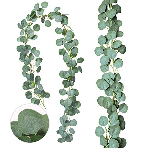 Zhou-long 2PCS Artificial Vines Faux Silk Eucalyptus Leaves Fake Leaves Handmade Greenery Garlands Backdrop Table Placement Décor