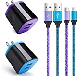 Wall Charger Android Fast Charging Cable Kit, Dual Port Charger Block Micro USB Cord Compatible for Samsung Galaxy S7 S6 Plus/Active/Edge J8 J7 J5 J3 Note 5 4 3,LG Stylo 2 3 K20 K8 K7,Moto G5 E4 Droid