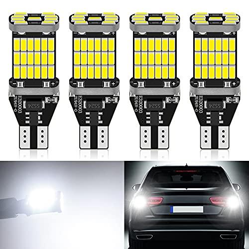 DEFVNSY - Pack de 4-1220Lums extrêmement lumineux sans polarité Canbus sans erreur 921 912 W16W T15 AK-4014 45pcs Chipsets LED Ampoules pour feux de recul, blanc xénon 6000K