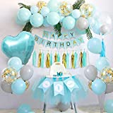 SPECOOL Decoraciones de Cumpleaños para Niño, Globos de Fiesta de Feliz Cumpleaños Azul con Pancarta, Borla de Papel, Globos de Látex para Fiesta de Cumpleaños de Niños, Registro de Baby Shower