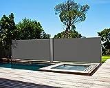 Toldo Lateral Retráctil, Toldo Completo de Aluminio, Toldo Portátil, Protección Solar, Extensible para Balcón, Jardín, Terraza, Protección de la Privacidad, 600 X180 cm, Doble Cara, Gris