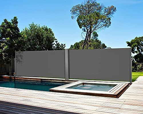 Doppelseitenmarkise Alu Ausziehbare Seitenmarkise Ausziehbar UV-beständig 180x600cm (HxL)-Sonnenschutz Sichtschutz,Seitenrollo,Seitendächer, Standmarkise,Seitenwandmarkise für Garten,Terrasse Grau