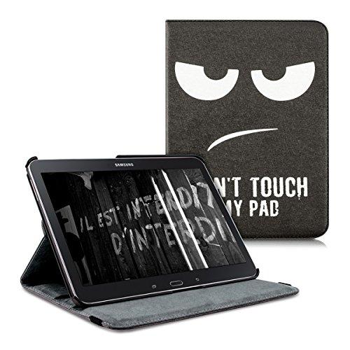 kwmobile Funda Compatible con Samsung Galaxy Tab 4 10.1 T530 / T535 - Carcasa de Cuero sintético para Tablet Don't Touch my Pad Blanco/Negro