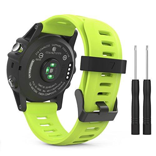 MoKo Pulsera Compatible con Garmin Fenix 3/3 HR/5X/5X Plus/D2 Delta PX/Tactix Bravo/Descent Mk1/Quatix 3, Correa de Silicona Respirable y Reemplazable, Banda de Reloj Deportivo con Cierre - Verde
