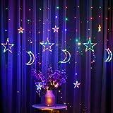 BUNRUN LED Lichterketten 3,5 m Star Moon LED Vorhang Lichter Girlande Hochzeit dekorative Lampe Hausgarten Weihnachtsfenster Vorhang Dekoration
