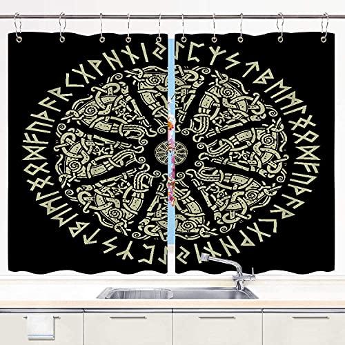 JISMUCI Cortina de Cocina Antiguo Ornamento escandinavo, Escudo Vikingo y runas escandinavas, Aislado en Negro Juegos de Tratamiento de Ventanas Cortinas 2 Paneles con Ganchos,140x100CM