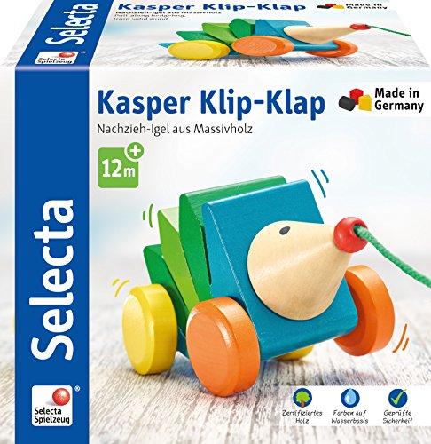 Selecta 62022 Kasper Klip-Klap, Nachzieh Igel, Schiebe-und Nachziehspielzeug aus Holz, 16 cm