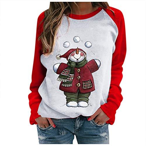 Damen T-Shirt Weihnachtsdruck Sweatshirt T-Shirt Runder Kragen Lange Ärmel Bluse...