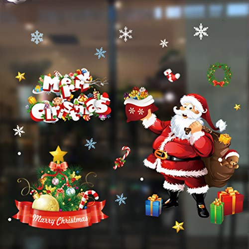 Azude Removable Christmas Santa Window Clings Display Window Glass Decal Films Tree Gifts Sticker