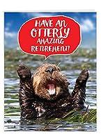 """ジャンボFunny RetirementグリーティングカードからすべてのUS : Otterly Awesome showing a応援Otter Happily Celebrating、封筒付き( Giantサイズ: 8.5"""" X 11"""" ) j6574artg-us"""