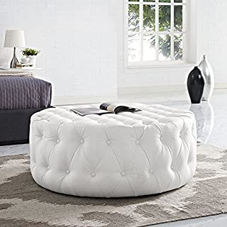 Modway Amour Faux Leather Button-Tufted Round Ottoman in White