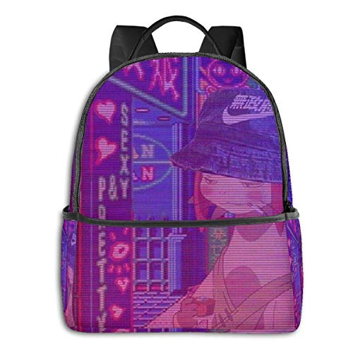 IUBBKI Mochila lateral negra Mochilas informales Space Dandy Meow Vaporwave Student School Bag School Cycling Leisure Travel Camping Outdoor Backpack