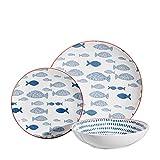 Vajilla peces azul de porcelana stoneware navy de 18 piezas - LOLAhome
