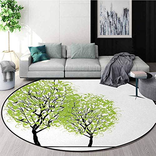 Buy Discount Tree of Life Modern Washable Round Bath Mat,Green Spring Trees with Birds Sitting On Th...