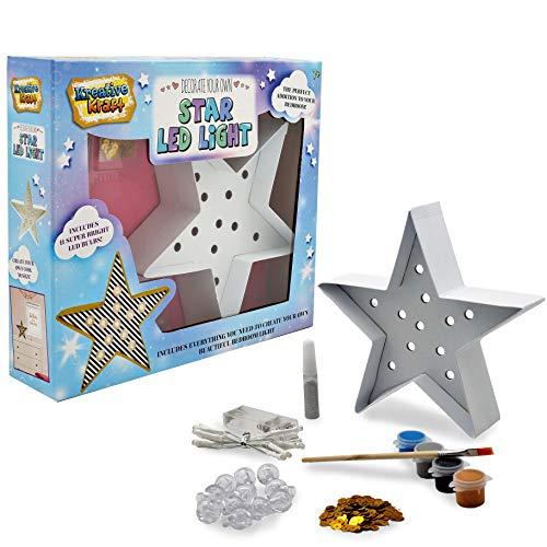 KreativeKraft Tischlampe Led Kinderzimmer Deko, Lichterkette Sterne Kinderzimmer, Led Nachtlicht Kind Lampe Selber Dekorieren mit Batterie, Kleine Geschenke für Kinder