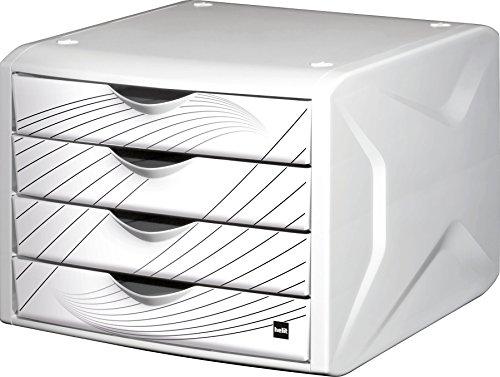 """Helit H6129505 Schubladenbox - \""""the chameleon\"""", 4 Schubladen, white queen, weiß"""