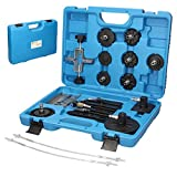 ECD Germany Set 11 unidades diferentes de adaptadores de plástico para purga de frenos Juego de adaptadores de limpiadores de frenos y acomplamientos hidráulicos y embrague + maleta de almacenamiento