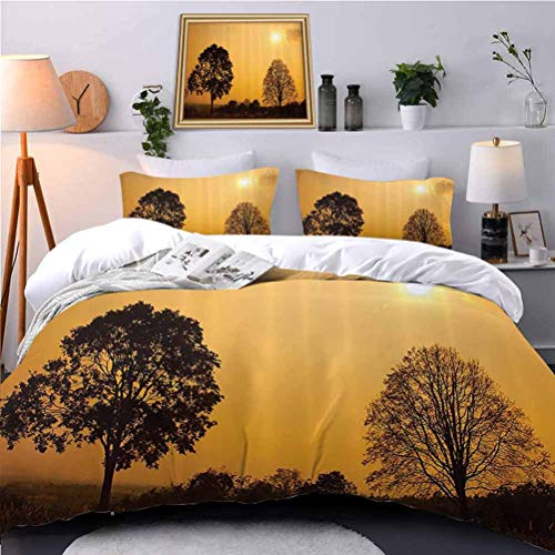 UNOSEKS LANZON Duvet Cover Desert Tree SunSunny Hot Summer Safari Horiz Print Duvet Cover Make Your Bed Fun and Comfortable - Queen Size