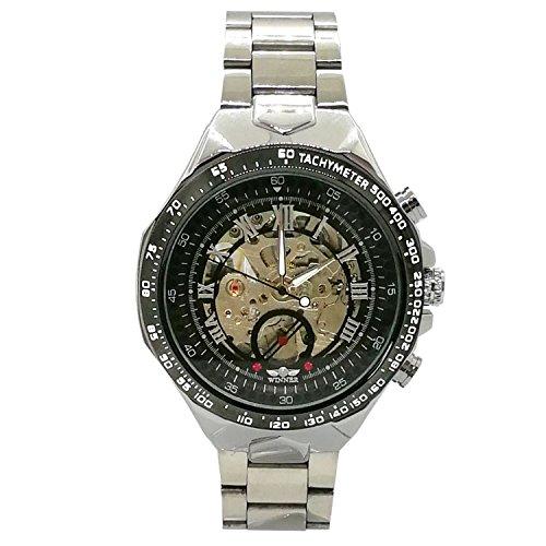 Chronomart Armbanduhr, groß, russisch, elegant, sportlich, Skelett-Zifferblatt, automatisch, mechanisch, Edelstahl-Armband