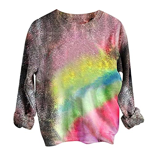 Womens Tops Tie Dye Graphic Sweater Sweatshirt Casual Blouse Shirts Trendy Long Sleeve Pullover Tunics Fall Clothes Pink