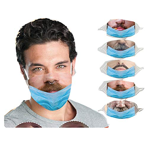 Face Mask Beard Print,Teeth Mask ATRISE Masks for Men with Beards,with Tooth,Beard Print Adult
