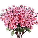 NAHUAA 6pcs Fleurs Artificielles de Pêche Fausses Fleurs Fleurs en Tissu Faux Bouquet de Fleur Artificielle Décoration pour Maison Jardin Chambre Fête Mariage