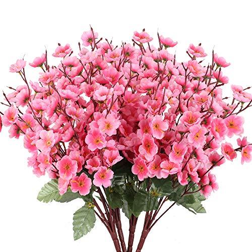 NAHUAA 4pcs Flores Artificiales Flores Falsas Flor de durazno Artificial Ramo de Novia Nupcial Decoración para Jardín Sala Cocina Boda Fiesta Ramo de simulación Color Rosa