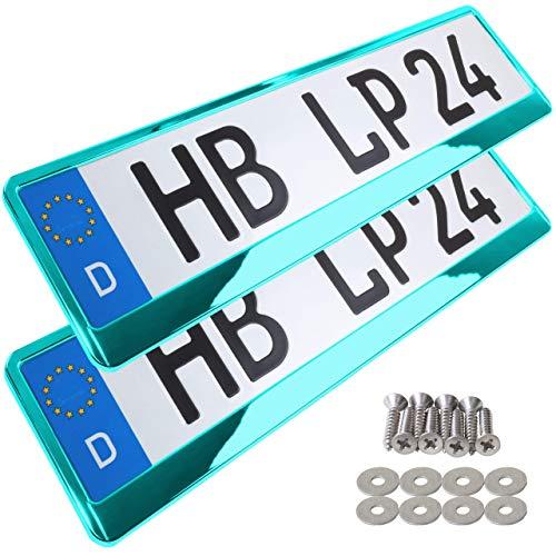 A155 Kennzeichenhalter 2 Stück Auto Nummernschildhalter türkis chrom Kennzeichenverstärker Kennzeichenhalterung Nummernschildhalterung Verstärker Halter für Kennzeichen Nummernschild edel glänzend