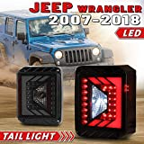 LED Tail Lights Assembly Compatible with 2007-2017 Jeep Wrangler JK Plug & Play LED Rear Tail Lamp Replacement for Jeep JK- 1 Pair (Smoke Lens)