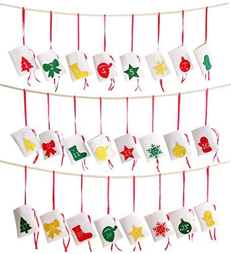 Hangnuo Kerstmis adventskalender 2019, 24 dagen vilten geschenkzakjes DIY Countdown slinger voor kerstdecoratie