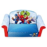 Marshmallow Furniture , Children's 2-in-1 Flip Open Foam Sofa, Marvel Super Hero Adventures, by Spin Master, Multi Color