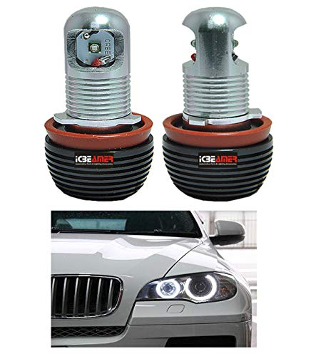 ICBEAMER for BMW Halo Angel Eye Headlight 10W E92 H8 Halo Ring LED Light Bulbs Replacement Lamps [Color: 6000k White]