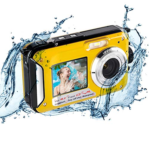 Unterwasserkamera Unterwasser Kamera zum Schnorcheln 2.7K 48MP Kamera Wasserdicht mit Doppelbildschirm für Selfie wasserdichte Kamera zum Schwimmen und Camping
