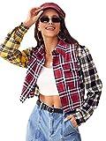 SweatyRocks Women's Cute Color Block Long Sleeve Plaid Crop Top Button Down Blouse Shirt Multicolor S