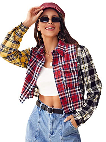 SweatyRocks Women's Cute Color Block Long Sleeve Plaid Crop Top Button Down Blouse Shirt Multicolor M