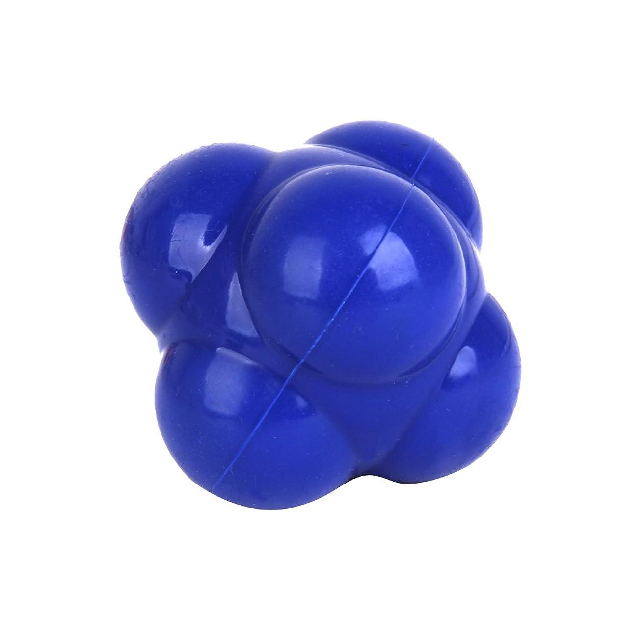 名目上のかご付き添い人【ノーブランド品】六角反応ボール 六角マッサージボール 反射運動トレーニング 青