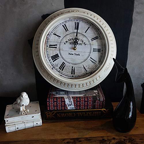 DKee Reloj de Pared Vintage Blanco Números Romanos Relojes De Pared Europeos Sala De Estar Decoración Antiguos Relojes De Cuarzo Silenciosos Relojes Creativos De Una Cara