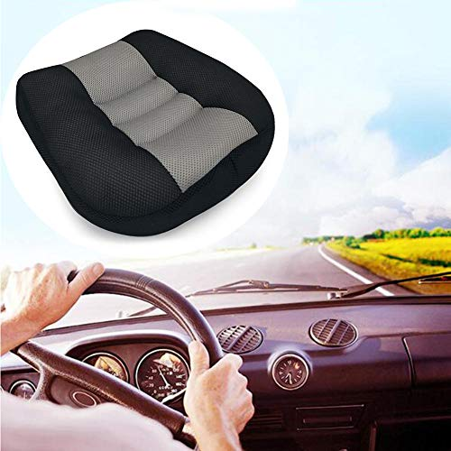 Car Seat Cushion Booster Seat, Heightening Height Boost Mat, Breathable Mesh Portable Car Seat Pad Angle Lift Seat for Car, Office,Home, (15.7x15.7x4.7inch) (Black)