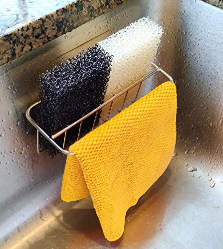 The Crown Choice 2-in-1 Kitchen Sink Caddy | Sponge + Dish Cloth Hanger Combo | Stainless Steel Kitchen Sink Organizer Holder | No Suction Dishcloth Storage for Swedish Cloths