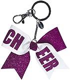 Chassé Girls' Mini Cheer Bow Keychain Glitter Purple/White