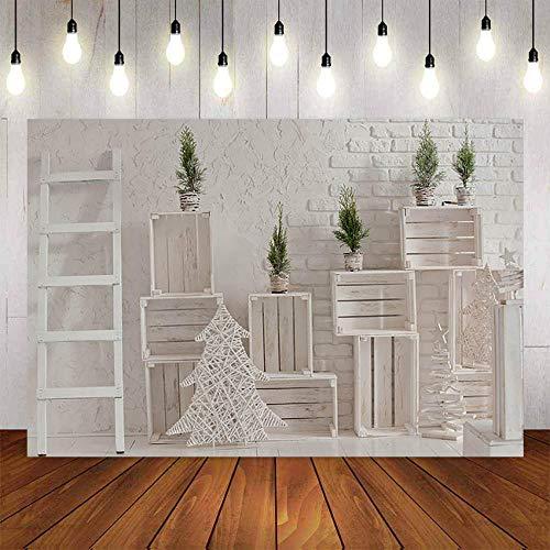 Fondos fotográficos Fondo de fotografía decoración árbol de Navidad Blanco Vintage decoración de Pared de ladrillo para Estudio fotográfico telón de Fondo PhotoCall-7x5FT