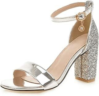 MIOKE Women's Glitter Sequins Chunky High Block Heel Sandals Open Toe Comfy Ankle Strap Dress Pump Sandal