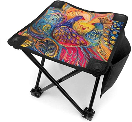 liang4268 Camping Hocker Peacock Folding Camping Stool Lightweight Chairs Portable Seat for Adults Fishing Hiking Gardening and Beach with Carry Bag
