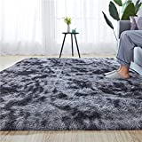 Rainlin Soft Fluffy Bedroom Rugs Indoor Shaggy Plush 6x9 Area Rug College Dorm Living Room Home Decor Floor Carpet Shag Non-Slip Nursery Rugs, Dark Grey
