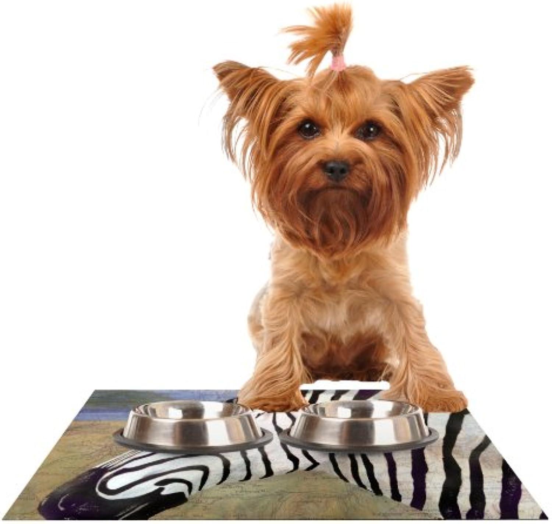 Kess InHouse Catherine Holcombe Zebransky Feeding Mat for Pet Bowl, 24 by 15