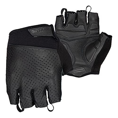 Lizard Skins Aramus Classic Leather Cycling Gloves V2 – Unisex Padded Short Finger Bike Gloves (Jet Black, Large)