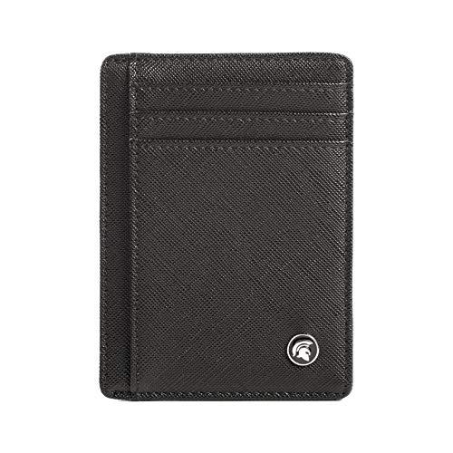 POWR Cartera delgada con bloqueo de identificación por radio frecuencia (RFID), tarjetero minimalista para tarjetas de crédito, con capacidad de hasta 7 tarjetas y billetes. Saffiano