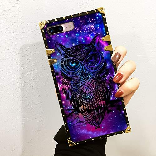 iPhone 7 Plus, iPhone 8 Plus Case Galaxy Owl Luxury Square Soft TPU Wrapped Edges and Hard PC Back Stylish Classic Retro Case